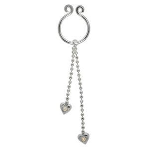 Brustwarzen-Clip Silber 925 Kristall Herz Liebe