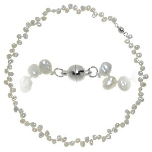 Pearl necklace Fresh water pearl Silver plated copper