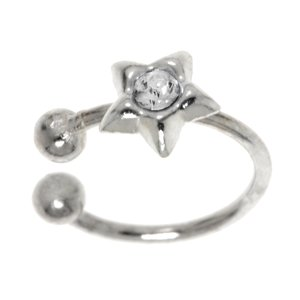 Nose clip Silver 925 Crystal Star