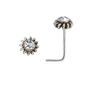 Nose piercing Silver 925 Crystal Spiral Flower
