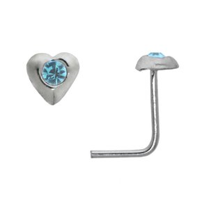 Nose piercing Silver 925 Crystal Heart Love