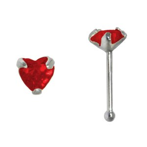 Nose piercing Silver 925 zirconia Heart Love