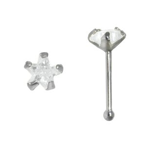 Nose piercing Silver 925 zirconia Star