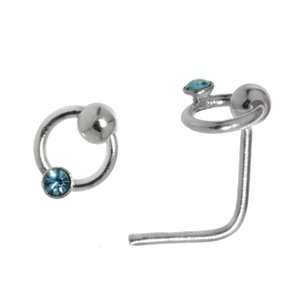 Nose piercing Silver 925 Crystal Eternal Loop Eternity