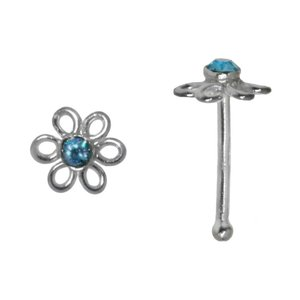 Nose piercing Silver 925 Crystal Flower