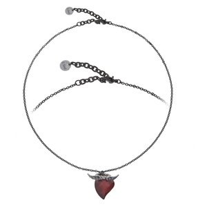 Necklace Stainless Steel zirconia Heart Love Wings