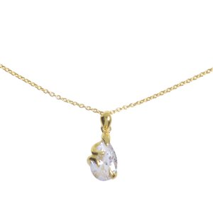Neck jewelry Silver 925 Gold-plated Crystal Drop drop-shape waterdrop