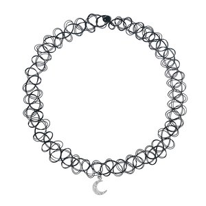 Pendente catena Plastica Argento 925 Zircone Luna Mezzaluna
