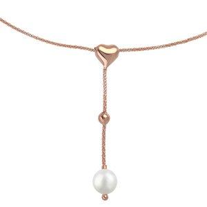 EraOra Pendente catena Argento 925 Perla sintetica Rivestimento PVD (colore oro) Cuore Amore