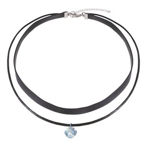 Neck jewelry Leather Stainless Steel zirconia
