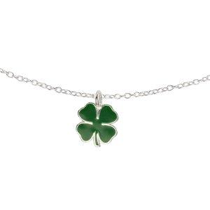 Kinder Halskette Silber 925 Epoxiharz Blatt Pflanzenmuster Florales_Muster