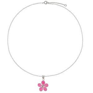 Kinder Halskette Silber 925 Epoxiharz Kristall Blume