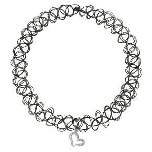 Pendentif de chaîne Plastique Argent 925 Zirconia Coeur C?ur Amour