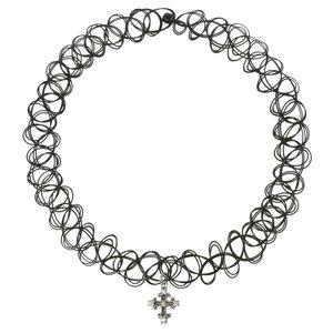 Pendentif de chaîne Argent 925 Zircon Plastique Croix Dessin_tribal Motif_tribal