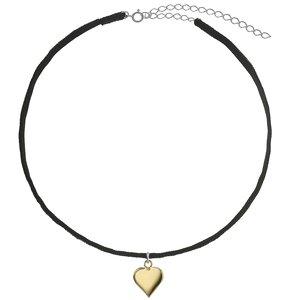 Halsschmuck Samt Silber 925 Gold-Beschichtung (vergoldet) Herz Liebe
