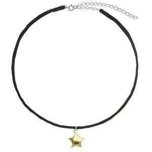 Halsschmuck Samt Silber 925 Gold-Beschichtung (vergoldet) Stern