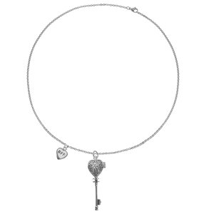 Neck jewelry Stainless Steel Black PVD-coating Heart Love Key Letter Character Number
