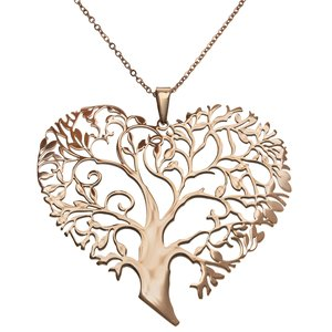 Neck jewelry Stainless Steel PVD-coating (gold color) Heart Love Leaf Plant_pattern