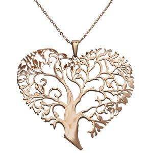 Joya de cuello Acero fino Revestimiento PVD (color oro) Corazón Amor Hoja Diseño_floral