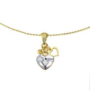 Joya de cuello Plata 925 Revestido de oro cristales de Swarovski Corazón Amor