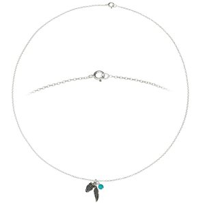 Neck jewelry Silver 925 Turquoise Feather Owl
