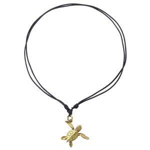 Halssieraad Leer Messing schildpad