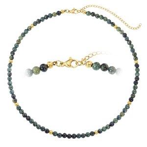 Steinkette Chirurgenstahl 316L PVD Beschichtung (goldfarbig) Jade
