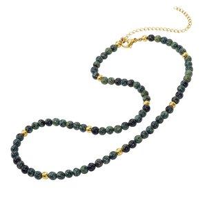Collar de piedras Acero quirúrgico Revestimiento PVD (color oro) Jade