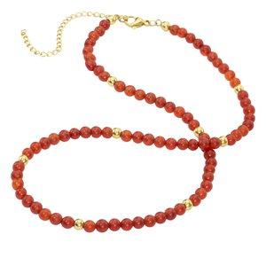 Collar de piedras Acero quirúrgico Revestimiento PVD (color oro) Piedra natural
