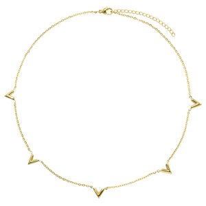Halskette Edelstahl PVD Beschichtung (goldfarbig) Dreieck Buchstabe Zahl Ziffer