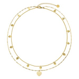 Neck jewelry Stainless Steel PVD-coating (gold color) Heart Love