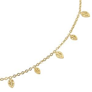 Pendente catena Acciaio inox Rivestimento PVD (colore oro) Foglia Disegno_floreale