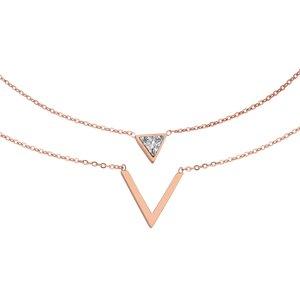 Pendente catena Acciaio inox Rivestimento PVD (colore oro) Zircone Triangolo Trilatero