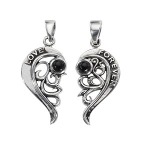 Silver pendant Silver 925 Onyx Heart Love Love Affection Eternal Loop Eternity