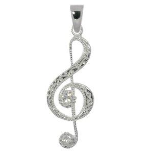 Silber-Anhänger Silber 925 Zirkonia Musik Notenschlüssel Gitarre