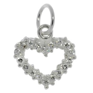 Small silver pendant Silver 925 Crystal Heart Love