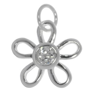 Small silver pendant Silver 925 Crystal Flower