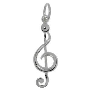 Piccolo pendente in argento Argento 925 Musica Chiave Chitarra