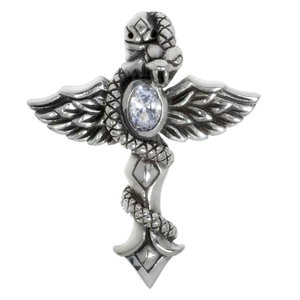 Neck jewelry Silver 925 zirconia Cross Wings Snake