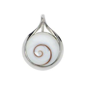 Muschel-Anhänger rhodiniertes Silber 925 Shiva´s Eye Muschel Spirale Tropfen Tropfenform Wassertropfen