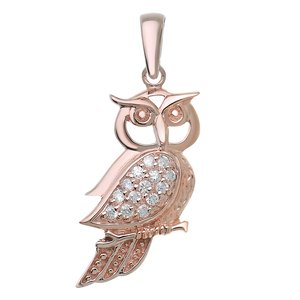 Neck jewelry Silver 925 Crystal PVD-coating (gold color) Owl