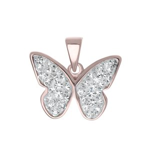 Neck jewelry Silver 925 Crystal PVD-coating (gold color) Butterfly