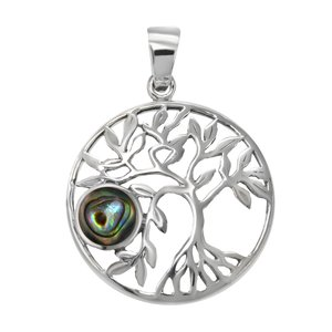 Shell pendant Silver 925 Abalone Leaf Plant_pattern