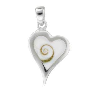 Shell pendant Silver 925 Shiva´s Eye Heart Love Spiral