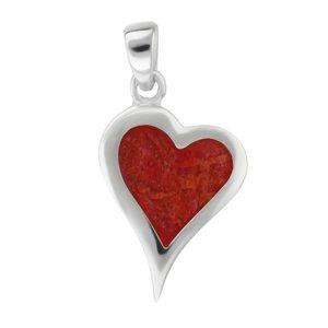 Pendentif en coquillage Argent 925 Corail Coeur C?ur Amour