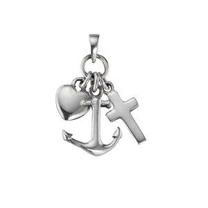 Silber-Anhänger Silber 925 Anker Seil Schiff Kreuz Herz Liebe