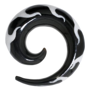 Plug Buffalo horn synthetic resin Spiral Flame Fire Tribal_pattern