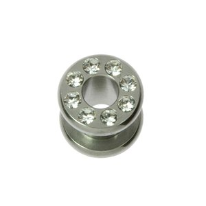 Plug Surgical Steel 316L Swarovski crystal