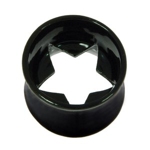 Plug Surgical Steel 316L Black PVD-coating Star
