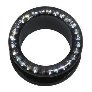 Plug Acero quirúrgico Revestimiento PVD (negro) cristales de Swarovski epoxy